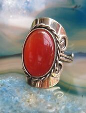 Ring Alpaka Silber Cat Eye Katzenauge orange Ethno Inka Maya Indianer 008