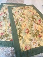 SET OF TWO KING SIZE HANDMADE FLORAL W GREEN BORDER PILLOW SHAM COVERS PRISTINE