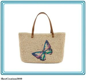 NWT Straw Studios Graphic Straw Tote Beach Travel Bag Shopper Butterfly #441