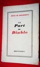 DENIS DE ROUGEMONT LA PART DU DIABLE EO RENTANO'S 1942 HITLER TOTALITARISME