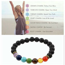 7 Chakra Healing Beaded Bracelets Natural Lava Stones Diffuser Bracelets Jewelry