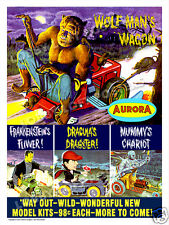JAMES BAMA AURORA MODEL ART PRINT POSTER MONSTER CARS DRACULA MUMMY FRANKENSTEIN