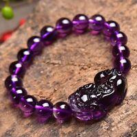 Feng Shui Natural Purple Amethyst Quartz Gemstone Pixiu  Round Beads Bracelet