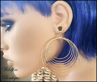 Pair Silver Boho Incan Tribal Circles Dangle Stainless Ear Tunnels Plugs 6-25mm