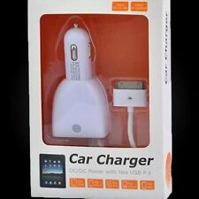 CAR CHARGER DC/DC Power w/2 USB Ports - IPAD/iPhone/iPod/Blackberry CC37-IPA WHI