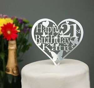 Heart Birthday Cake Topper Personalised with ANY Name and Age 18th,21st,30th...