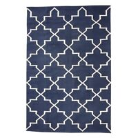 Large Cotton Woven Blue Rug With Geometric White Pattern 120x180 cm by Hubsch