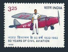 India 990,MNH.Michel 919. Civil Aviation-50,1982.