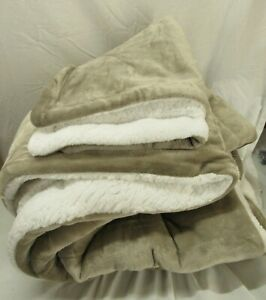 Ultra-Soft Micromink Sherpa Comforter Bed Set - Twin, Taupe OPEN BOX
