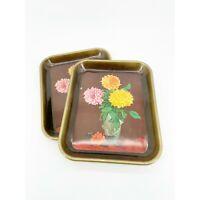 Vintage Metal Chrysanthemum Bouquet Serving Tray Deep Set 2 Vase Peony Farmhouse