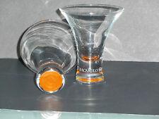Set of 2 Curved Orange Tinted Bacardi O Rum Glasses with Bat Logo