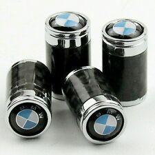 BMW Carbon Fibre Valve Dust Caps Car Tyre Wheel Cover Set 4 Black Chrome M Sport