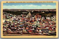 Postcard San Diego CA c1940s Business Area Balboa Park Aerial View Erickson