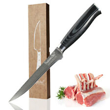 Sunnecko 5.5 inch Boning Fillet Knife Japanese Damascus Steel Kitchen Knife Cut