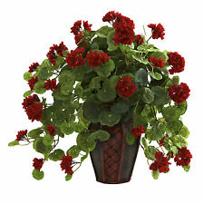 NEW GERANIUM RED FLOWERS SILK HOUSEPLANT VASE FAKE FAUX FLORAL NEARLY NATURAL
