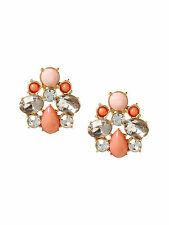 Banana Republic Color Cluster Cabochon Crystal Stud Earrings NIP $45 Peach set 2