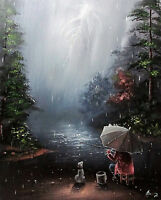 100%HAND-PAINTED ART  OIL PAINTING Fishing Landscape canvas 16X20INCH signed