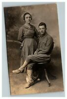 Vintage 1900's RPPC Postcard WW1 Soldier & Wife Portrait UNPOSTED
