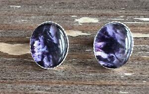 Solid Silver Derbyshire Blue John Petite Oval Stud Earrings J2668