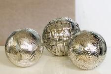 59993 3tlg. Set sfera decorativa Carve Poli Antico Argento Ø 10CM 3 capi
