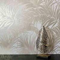 Jungle Tropical Palm Leaves Wallpaper White gold metallic leaf wallcoverings 3D
