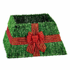 Premier Christmas Box Style Tinsel Tree Skirt - Green with Red Bow Design