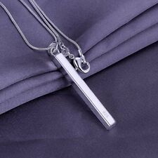 "925 STERLING SILVER PLATED LONG BAR SOLID PENDANT w 18"" NECKLACE"