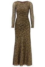 Carmen Marc Valvo Gold Metallic Women's Size 16 Floral-Lace Gown $1200- #186