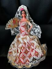 "Vintage Marin Chiclana Spanish Spain Flamenco Dancer Doll red Fan 5"""