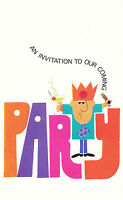 Pack of 10 Vintage Party Invitation Invite RSVP Cards - Retro Kitsch 1970's ~-..