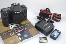 EXC++ CANON EOS 7D BODY, 18MP, ONLY 5879  ACTS, BATT., CHARGER, BOOK, CF, NICE!