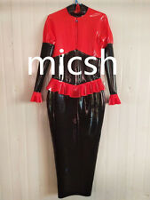latex Rubber New Red and Black Skirt Lace Beautiful Dress Size XS-XXL