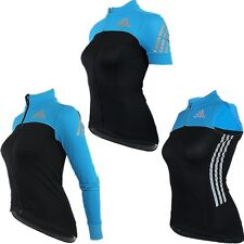 adidas Women's Supernova Black/blue Short Sleeve Full Zip Cycling Jersey G82331 M