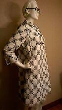 "VTG Hot!!! De Luca of Pittsburgh White/Black Geometric Embroidery Coat 38"" BUST"