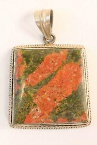 Vintage LARGE Sterling Silver Unakite Natural Gemstone Jasper Focal Pendant