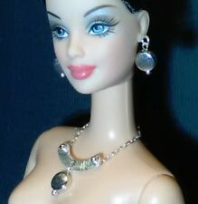 Dreamz SILVER ETCH Avant Garde MOD Necklace SET Doll Jewelry made for Barbie