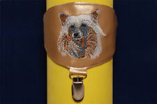 Chinese Crested arm band ring number holder with clip. For dog shows.