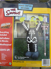 Gemmy Airblown Inflatable Halloween 8 ft Homer Simpson Skeleton Costume Blow Up