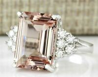 Hot Fashion Big Morganite 925 Silver Pink Gemstone Ring Women Engagement Jewelry