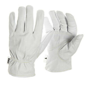 1 Pair Cutter Work Gloves Leather Padded Reinforced Palm Drivers Grip (CW100)