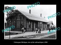 OLD LARGE HISTORIC PHOTO OF CHEBOYGAN MICHIGAN, RAILROAD DEPOT STATION c1890