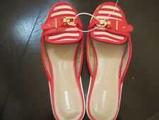 NEW LANDS' END RED STRIPE FLAT MULES GOLDTONE BUCKLE SIZE 6-1/2 B Shoes