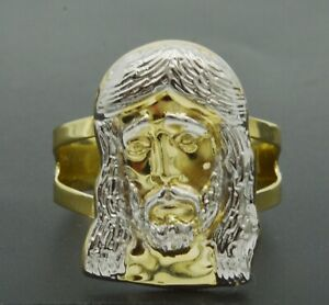 Real Solid 10K Yellow Men's Jesus Head Two-Tone Ring