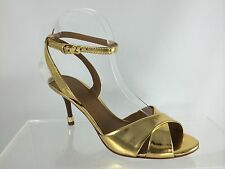 New Tory Burch Womens Gold Patent Leather With Gold Tipped Heel Sandals 7.5 M