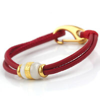 Natural Grade A Jade Nephrite 24K Gold Tube bead Red Leather Bracelet