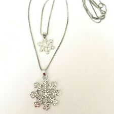 Double Chain Pendant Necklace Betsey Johnson Fashion Crystal snowflake