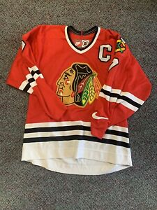 Nike Chicago Black Hawks Chris Chelios Red Vintage Vtg Retro Nhl Hockey Jersey