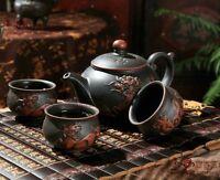 A SET EXQUISITE ARCHAIZE CHINESE YIXING ZISHA HANDMADE BLACK KIRIN TEAPOT