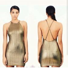 RIVER ISLAND Gold Embossed Racer Front Open Back Party Holiday Dress UK 16 BNWT