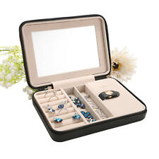 Leather Travel Jewelry Box with Mirror Earring Ring Case Necklace Storage Case